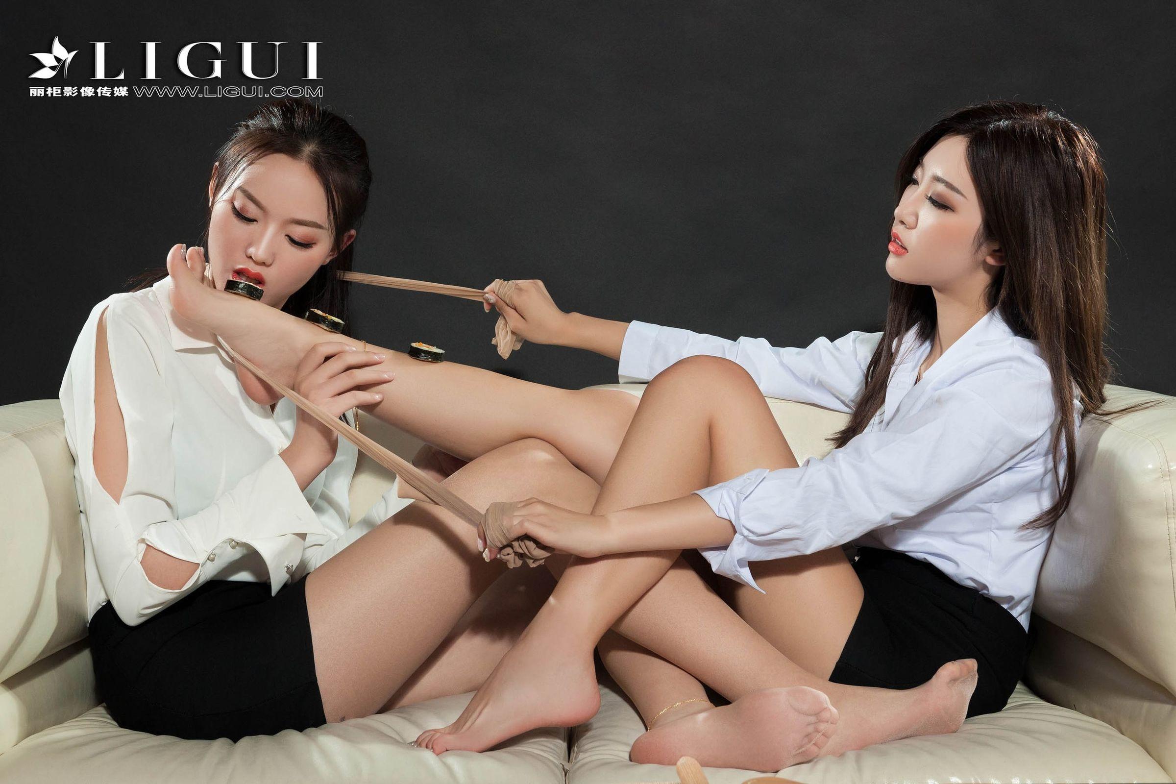 网络丽人 敏儿&筱筱 - 双生姐妹花丝足诱惑